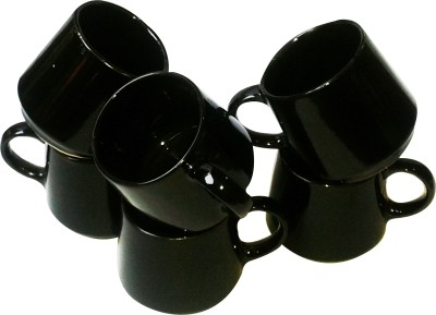 Buyer's Beach Elegant Black Tumbler s Set Of-6 Ceramic Mug