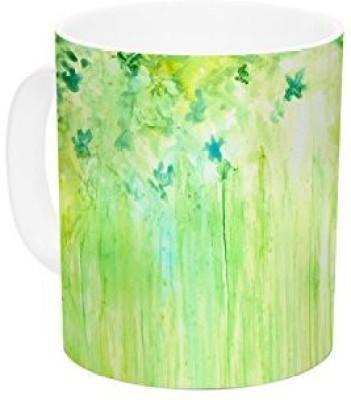Kess InHouse InHouse Rosie Brown April Showers Lime Green Ceramic Coffee , 11 oz, Multicolor Ceramic Mug