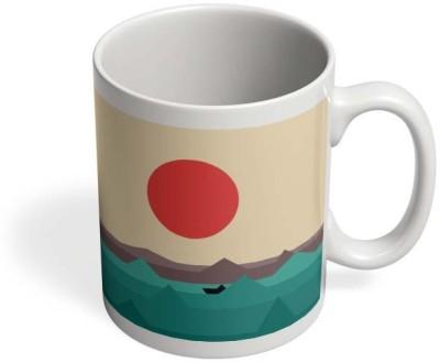 PosterGuy Seaside Sunrise Sunrise, Sunset, Sun, Sea, Ocean, Fish, Boat, Ship, Wind, Scenery, Poster Ceramic Mug