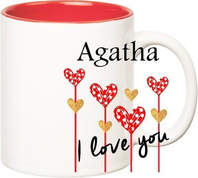 Huppme I Love You Agatha Inner Red  (350 ml) Ceramic Mug