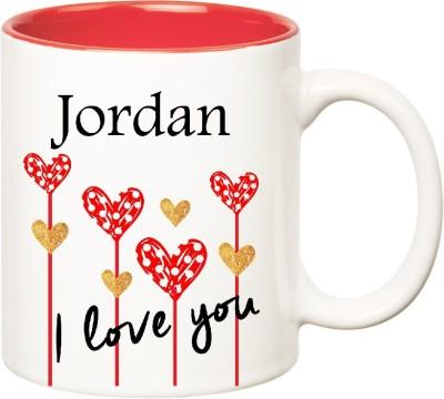 Huppme I Love You Jordan Inner Red  (350 ml) Ceramic Mug