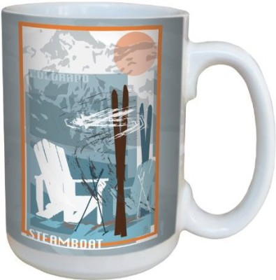 Tree-Free Greetings Greetings lm43087 Graphic Steamboat Ski Design by Mike Rangner Ceramic  with Full-Sized Handle, 15-Ounce, Multicolored Ceramic Mug