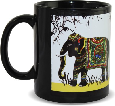 Kolorobia Charismatic Elephant Black Ceramic Mug
