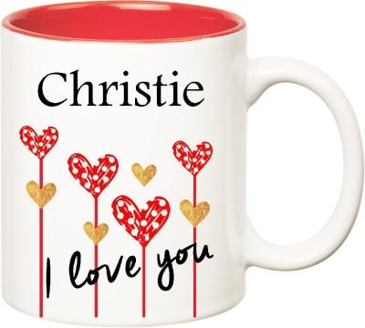 Huppme I Love You Christie Inner Red  (350 ml) Ceramic Mug