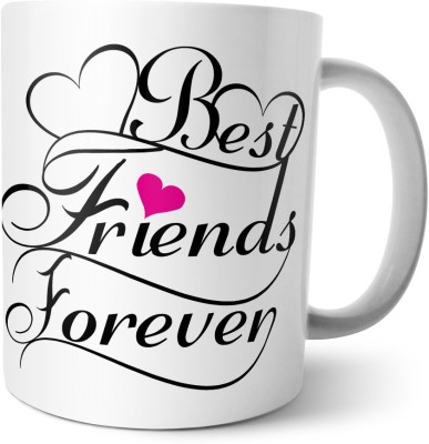 Chiraiyaa Happy Friendship Day - Best Friends Forever Floral Design with Quote Ceramic Mug