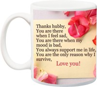iZor Gift for Husband/Boyfriend;Thanks Hubby You Are Best Print Font With Flower Printed Ceramic Mug