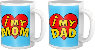 Tiedribbons Gift for Parents Day, I love my Mom & Dad,Set of Two Ceramic Mug