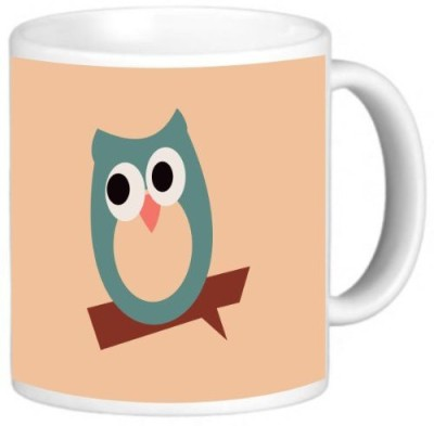 Rikki Knight LLC Knight Photo Quality Ceramic Coffee , 11 oz, Green Owl on Brown Ceramic Mug
