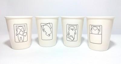 Dayinternational White Sleeping Position Cup Tumbler Ceramic Mug