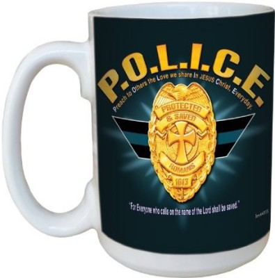 Tree-Free Greetings Greetings lm44313 Police: Romans 10:13 Ceramic  with Full-Sized Handle, 15-Ounce Ceramic Mug