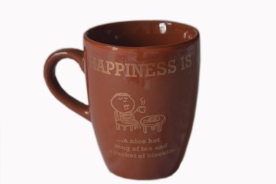 MGPLifestyle Happiness Quote  in Chocolate Brown Color Ceramic Mug
