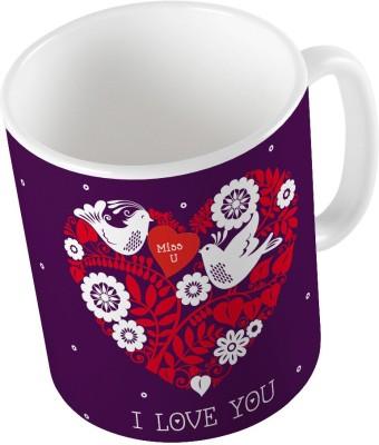 Indiangiftemporium Purple Designer Romantic Print Coffee  724 Ceramic Mug