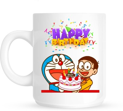 Huppme Gifts Happy Birthday With Doreamon White  Ceramic Mug