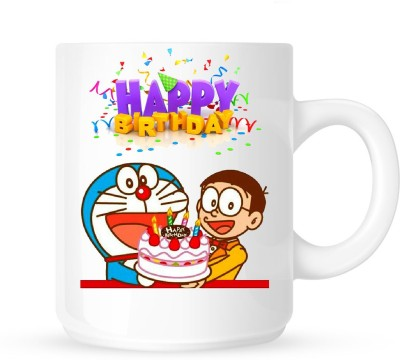 Huppme Happy Birthday With Doraemon Ceramic Mug