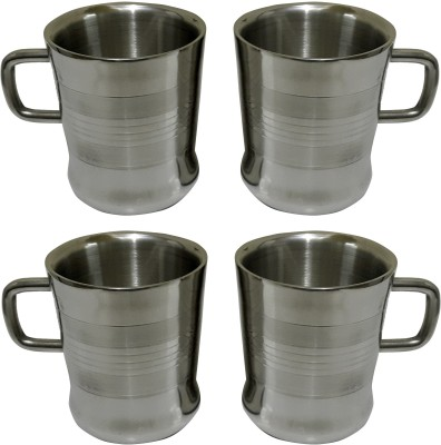 Dynore Set of 4 Double Wall Milano Cups Stainless Steel Mug