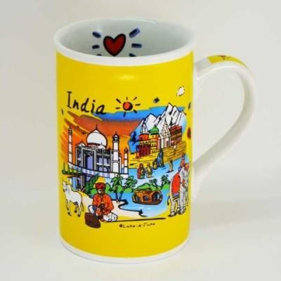India Souvenirs 12 Oz Yellow  with India Subway Design Porcelain Mug