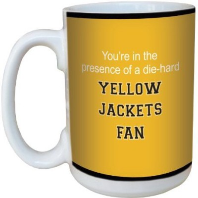 Tree-Free Greetings Greetings lm44446 Yellow Jackets College Football Fan Ceramic  with Full-Sized Handle, 15-Ounce Ceramic Mug