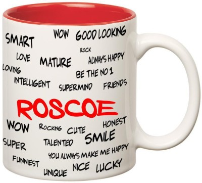 Huppme Good Personality Roscoe Inner Red Ceramic Mug(350 ml)