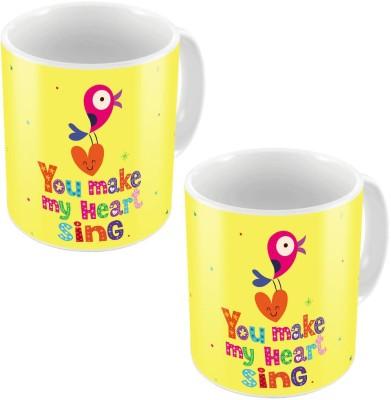 Little India Yellow Designer Printed Coffee s Pair 660 Ceramic Mug