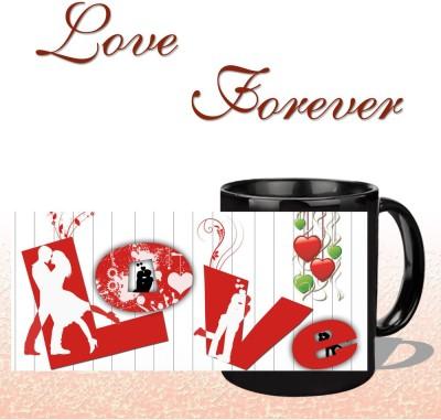 Snapgalaxy L O V E Forever in Black Ceramic Mug