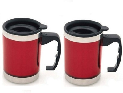 Phoenix Pack of 2 High Quality Economical travel Stainless Steel Mug