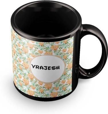 posterchacha Vrajesh Floral Design Name  Ceramic Mug