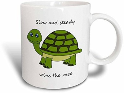 3dRose Slow and Steady Wins The Race Turtle , 11-Ounce, Green Ceramic Mug