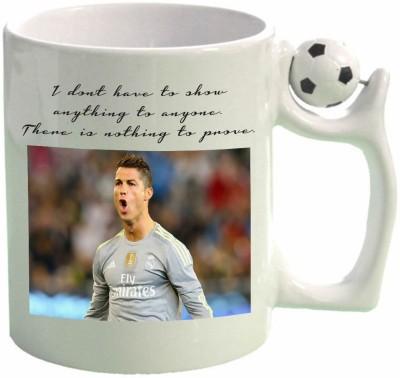 Huppme Ronaldo With Quotes Football  Ceramic Mug