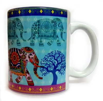 Indiavibes Printed Ceramic Coffee Tea  with Elephant 2 Theme Ceramic Mug