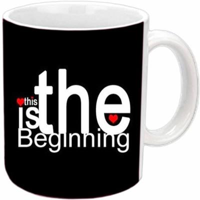 Jiya Creation Love The Begnning Valentine White  Ceramic Mug