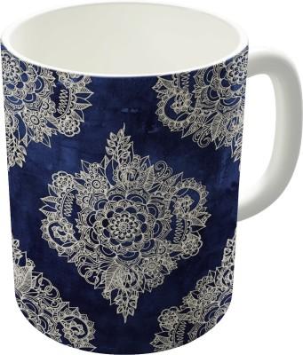 Dreambolic Cream Floral Moroccan Pattern On Deep Indigo Ink Ceramic Mug