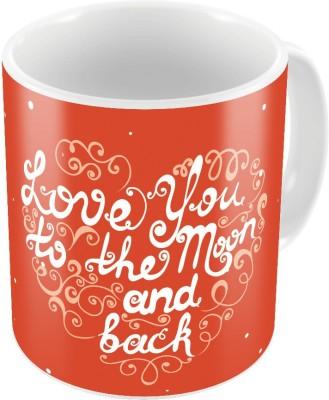 Home India Designer Romantic Print Orange Coffee  749 Ceramic Mug