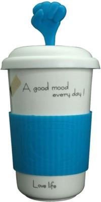 Just For Decor Blue Fun Grip & Hand Lid Ceramic Mug