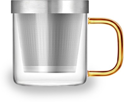 Samadoyo (350ml) With Strainer Glass, Stainless Steel Mug