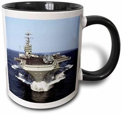 3dRose mug_98636_4 The USS Truman Naval Ship Two Tone Black , 11 oz, Black/White Ceramic Mug