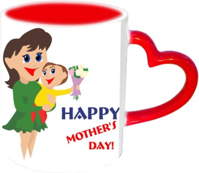 Jiya Creation1 Happy Mother's day with cute baby & Mother Red Heart Handle Ceramic Mug