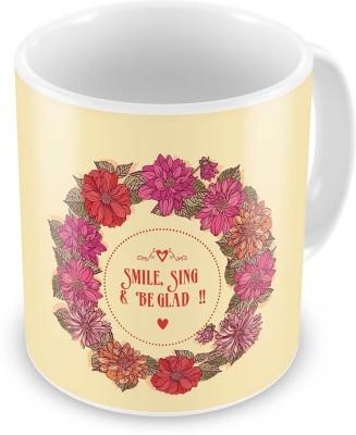 Indian Gift Emporium Floral Print Design Fancy Cream Color Coffee  618 Ceramic Mug