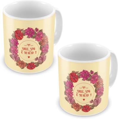 Indian Gift Emporium Floral Print Design Fancy Cream Color Coffee s Pair 618 Ceramic Mug