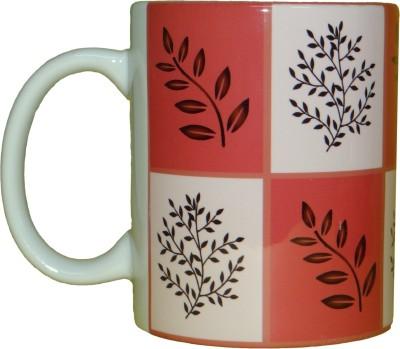 CreativesKart Leaves Maroon Ceramic Mug