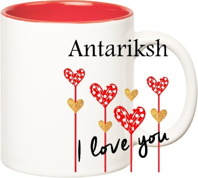 Huppme I Love You Antariksh Inner Red  (350 ml) Ceramic Mug