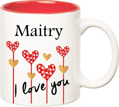 Huppme I Love You Maitry Inner Red  (350 ml) Ceramic Mug