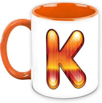 HomeSoGood Flamboyant Orange Alphabet K Ceramic Mug