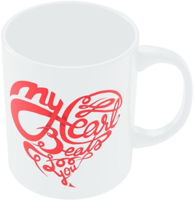 PosterGuy My Heart Beats For You Typography Ceramic Mug
