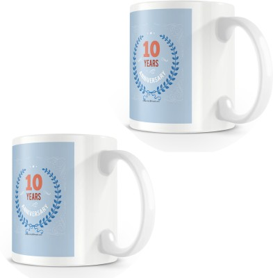 posterchacha Happy 10 Th Anniversary White Tea And Coffee To Give As Anniversary Gift To Loved One Bone China Mug