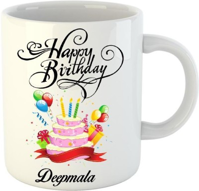 HuppmeGift Happy Birthday Deepmala White  (350 ml) Ceramic Mug