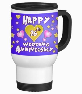Sajawat Homes 26th Happy Anniversary White Travel Stainless Steel Mug