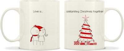TwoGud Love Is Celebrating Christmas Together Bone China Mug