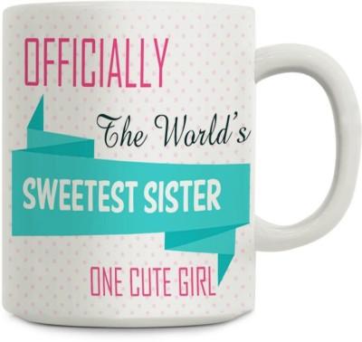 Gifts By Meeta Rakhi Gift Sweetest Sister Ceramic Mug(450 ml)