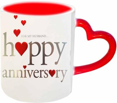 Jiya Creation1 Anniversary Wishes To My Husband Red Heart Handle Ceramic Mug