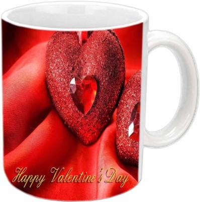 Jiya Creation Twinkling Hearts Valentine White  Ceramic Mug